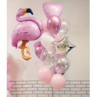 Сет воздушных шаров с фламинго в нежно-розовых тонах