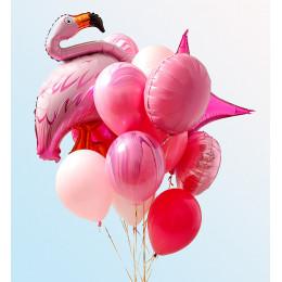 Букет ярких шаров с фламинго