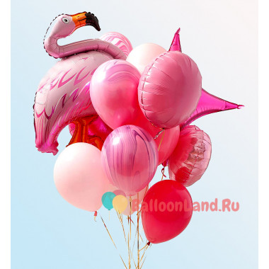 Букет ярких гелиевых шаров с фламинго