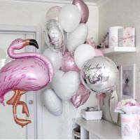 Композиция шаров с фламинго и вашими поздравлениями