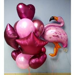 Композиция шаров Фламинго с сердцами и звёздами