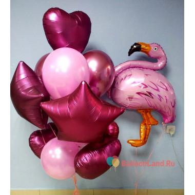 Композиция гелиевых шаров Фламинго с сердцами и звёздами