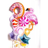 Сет красочных шаров с гелием Фламинго