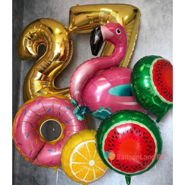 Композиция из шаров с гелием Фламинго с цифрами