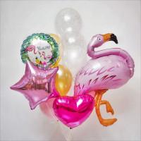 Букет воздушных шаров с фламинго