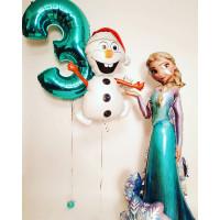 Сет из шаров Эльза со снеговиком и цифрой