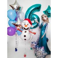 Композиция из шариков на День Рождения с ходячей фигурой Эльзы, цифрой и снеговиком