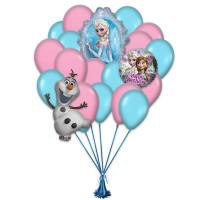 Букет из воздушных шаров с персонажами мультфильма Холодное сердце на День Рождения