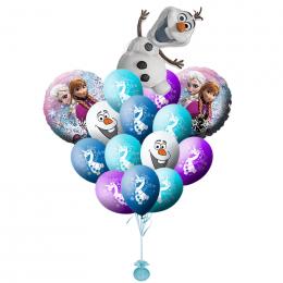 Букет из гелевых шариков Снеговичок Олаф и герои мультфильма холодное сердце