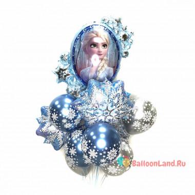 Букет из шариков с гелием Холодное сердце Эльза со снежинками