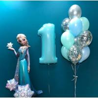 Композиция из гелиевых шариков с ходячей фигурой Эльза и цифрой