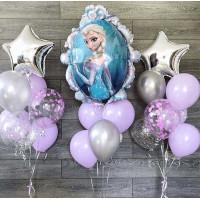 Композиция из шариков с героем м/ф Холодное сердце Эльзой, звездами и шарами с конфетти