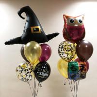 Композиция из шаров на День Рождения со Шляпой Ведьмы и Совой