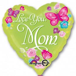 Шар-сердце Love You Mom с бабочками