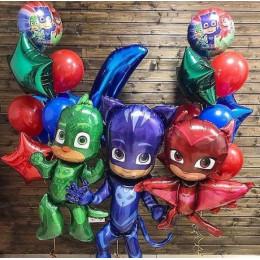 Сет воздушных шариков на День Рождения Герои в масках с цифрой