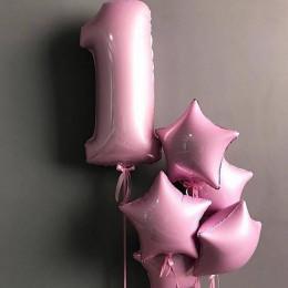 Композиция из шаров в розовых тонах на 1 год девочке