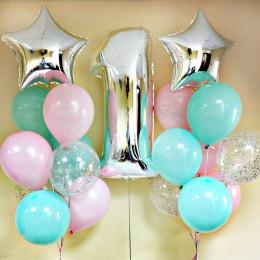 Композиция из шаров на 1 год девочке, тиффани и розовый
