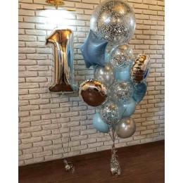 Композиция из шаров на годовасие девочке с большим шаром с конфетти