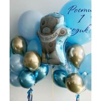 Композиция из гелиевых шаров на один годик с Мишкой Тедди и большими шарами
