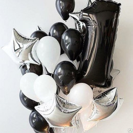 Букет шаров на 1 годик, серебро и чёрный