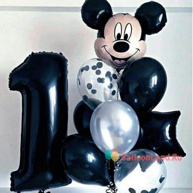 Композиция из шаров на 1 годик, голова Микки-Мауса