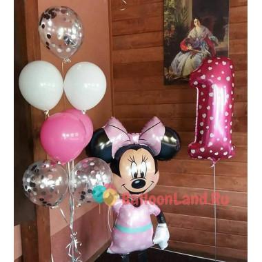 Набор из шаров для девочки на 1 год с ходячим шаром Мини Маус