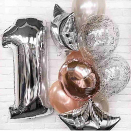 Букет из шаров на 1 год, розовое золото и конфетти