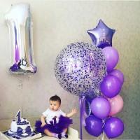 Набор из шаров для девочки на 1 годик с метровым шаром с конфетти