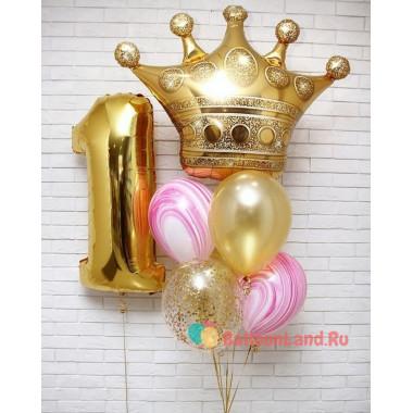 Композиция из воздушных шариков Маленькой принцессе на первый День Рождения