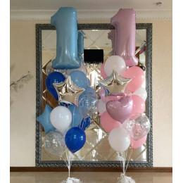 Фонтан из шаров на 1 годик (для мальчика или для девочки - 1 на выбор)