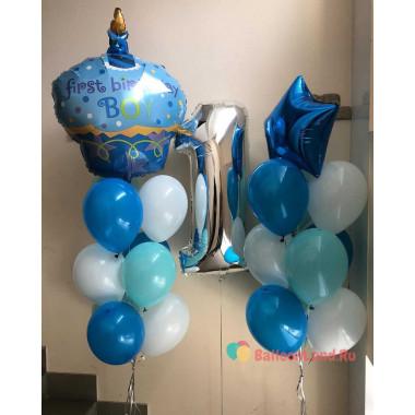 Композиция из шаров на первый день рождения мальчику, с тортом (first birthday boy)