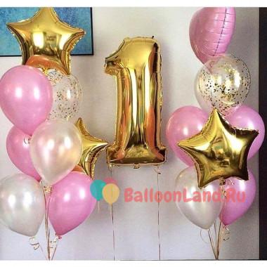 Сет из шаров для малышки на 1-й день рождения