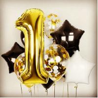 Набор шаров на годовасие с золотой цифрой один