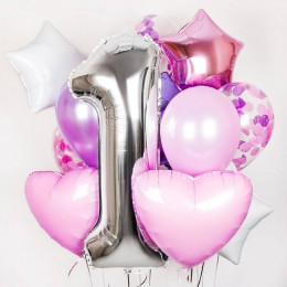 Букет шаров на 1 годик для девочки, нежность