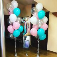 Композиция из шаров на 1 год, серебро, белый, розовый, тиффани