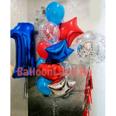 Сет из шаров для яркого оформления годовасия с прозрачным шаром