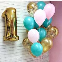Композиция из шаров на 1 год, белый, золото и тиффани