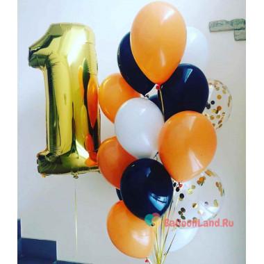 Композиция из шаров на 1 год, белый, черный и оранжевый