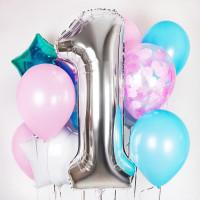 Букет шаров с цифрой 1 на годовасие