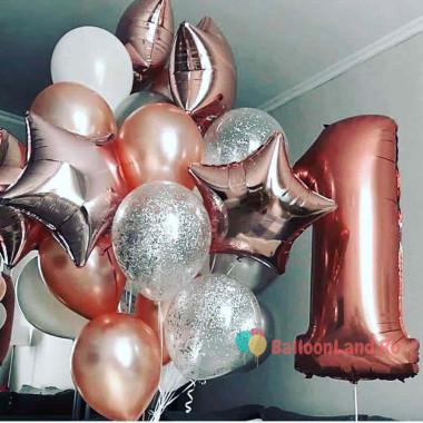 Композиция из шаров на годик, розовое золото