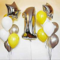 Сет из шаров на 1 год, белый, жёлтый, серебряный