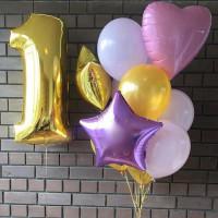 Композиция из шаров на годик для девочки, радужная