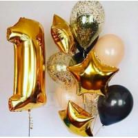 Композиция из шаров на 1 годик, золотистая