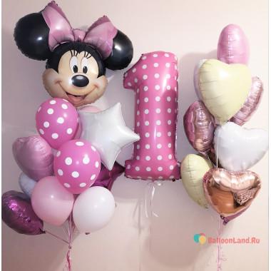 Композиция из воздушных шариков на годовасие с Минни, цифрой,сердцами и звездами
