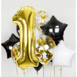 Букет шаров с цифрой 1 на годовасие с чёрными и белыми звёздами