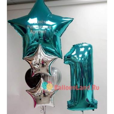 Композиция из шаров на 1-й день рождения с большой звездой с надписью