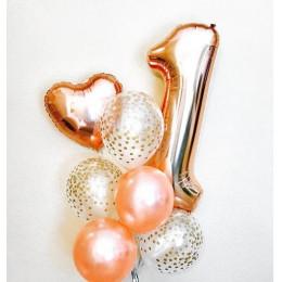 Букет из шаров на 1 год, розовое золото
