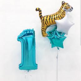 Композиция из гелевых шаров тигренок со звездами на первый День Рождения