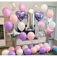 Набор шариков с гелием на годовасие с цифрой, звездами и сердцами
