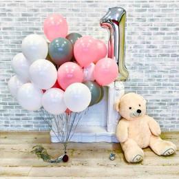 Композиция из шаров на 1 годик, белый, серый и розовый